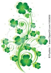 1053659-Royalty-Free-Vector-Clip-Art-Illustration-Of-A-Green-St-Patricks-Day-Shamrock-Vine-Design-Element